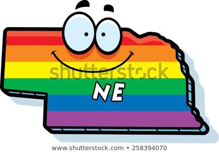 Cartoon Nebraska matrimonio gay illustrazione sorridere Rainbow Foto d'archivio © cthoman