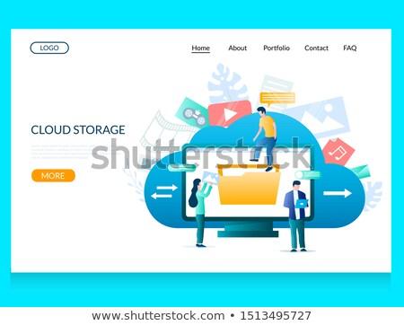 Wolk opslag app interface sjabloon twee Stockfoto © RAStudio