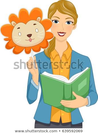 Lány tanár történet könyv ujj állat Stock fotó © lenm