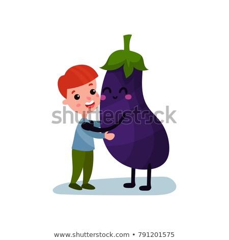 Cartoon aubergine knuffel illustratie klaar geven Stockfoto © cthoman