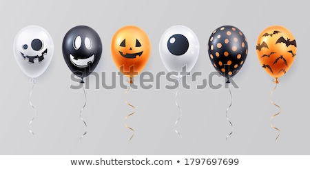 funny halloween vector set with spooky balloons with faces stock photo © pravokrugulnik