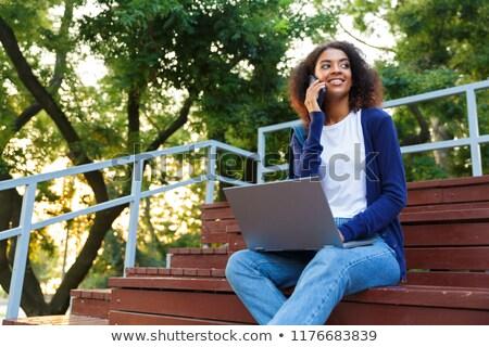 Stock fotó: Nő · ül · kint · park · lépcső · laptopot · használ