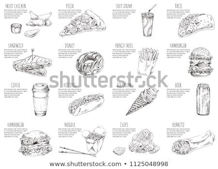 Stockfoto: Hamburger And Soft Drink Set Vector Illustration