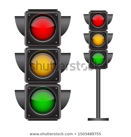 Stockfoto: Stoplicht · speelgoed · witte · tonen · Geel · rood · licht