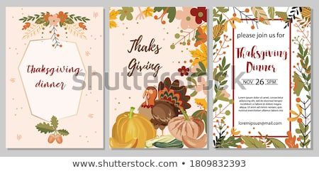 thanksgiving day greeting card with text thanksgiving day stock photo © foxysgraphic