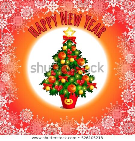 ストックフォト: スケッチ · かわいい · クリスマスツリー · 弓