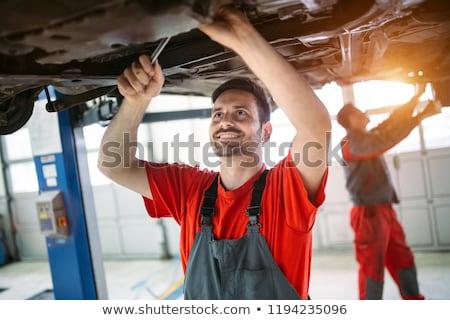 Meccanico auto olio motore blu lavoro lavoratore shop Foto d'archivio © Minervastock