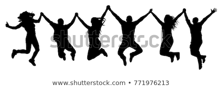 Stok fotoğraf: Silhouette Happy Jumping Family