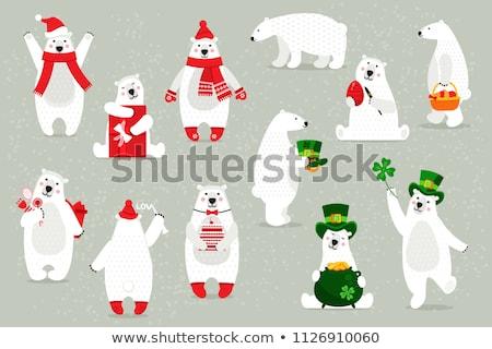 Cartoon ijsbeer bloemen illustratie witte dier Stockfoto © cthoman