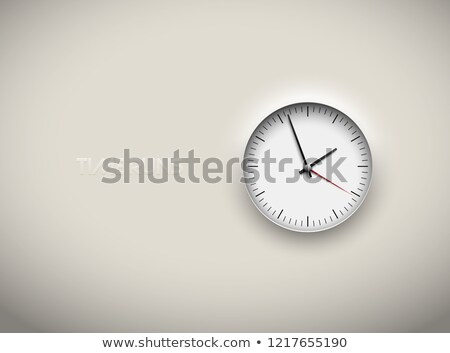 Stock photo: Vector cut out white round clock time business background. Black simple round scale. Icon design