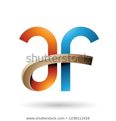 Blue and Orange Bold Curvy Letters A and F Vector Illustration Stock photo © cidepix