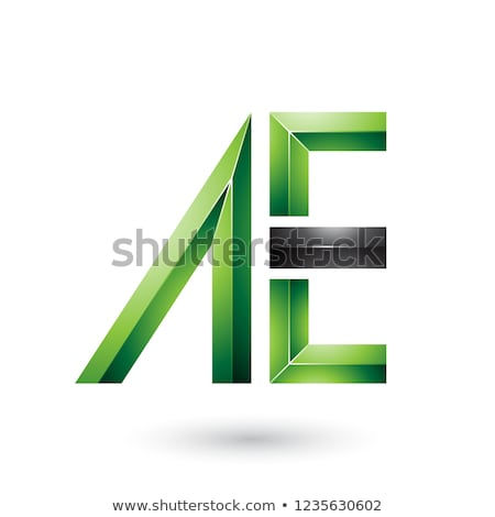 Green and Black Glossy Dual Letters A Vector Illustration Stock photo © cidepix