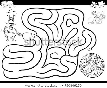 лабиринт цвета книга повар пиццы черно белые Сток-фото © izakowski