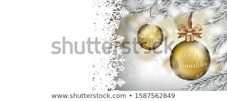Merry Christmas World Frozen Twigs Snowfall Golden Baubles Ribbo Stock photo © limbi007