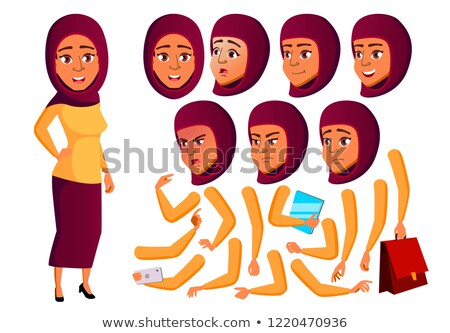 Teen Girl Vector. Teenager. Active, Expression. Face Emotions, Various Gestures. Animation Creation  Stock photo © pikepicture