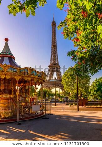 回転木馬 · フランス · 公園 · エッフェル塔 · パリ · 空 - ストックフォト © boggy