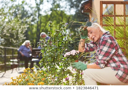 tired senior woman with flowers at working garden Stock photo © dolgachov