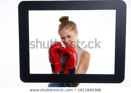 Kész online csata fiatal jóképű billentyűzet Stock fotó © lithian