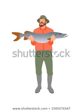 Stock fotó: Halász · hatalmas · zsákmány · izolált · fehér · poszter