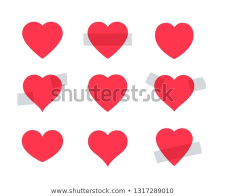 Set of red heart shape. Some hearts as stickers attached with a scotch tape. Valentine day symbol. Stock photo © ESSL