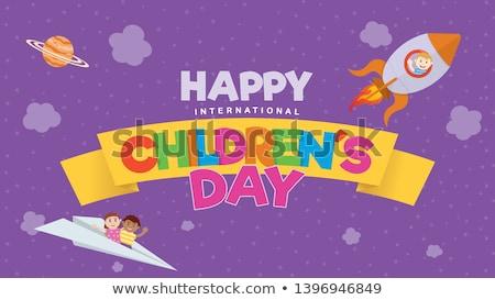 çocuklar · balon · gökyüzü · örnek · kız · mutlu - stok fotoğraf © colematt