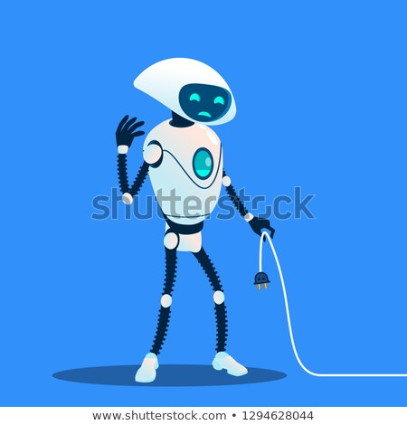 tired robot holding charging cord vector lost connection isolated illustration stock photo © pikepicture