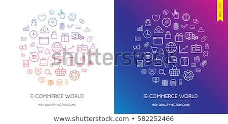 Online Commerce Warenkorb linear Symbole Stock foto © robuart