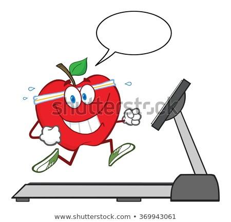 healthy red apple cartoon character running on a treadmill with speech bubble stock photo © hittoon
