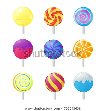 pink caramel candies on sticks for party details stock photo © dashapetrenko
