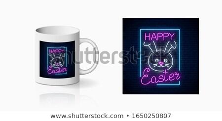 Easter bunny neon etiket mevsimlik tatil tanıtım Stok fotoğraf © Anna_leni