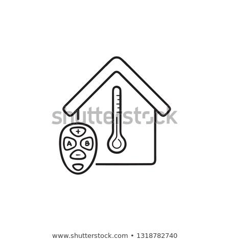 okos · légkondicionáló · kézzel · rajzolt · skicc · firka · ikon - stock fotó © RAStudio