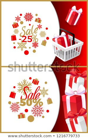 Christmas Sale 25, 50 Percent Off Vector Brochures Stock photo © robuart