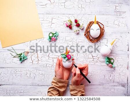 Stock fotó: Húsvéti · tojások · forma · lépés · húsvét · kézzel · készített · tojások