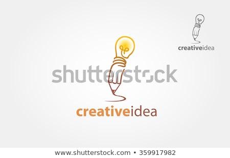 Pencil drawing bulb on paper Stock photo © ra2studio