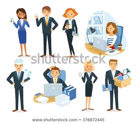 boss and employees working in office business set photo stock © robuart