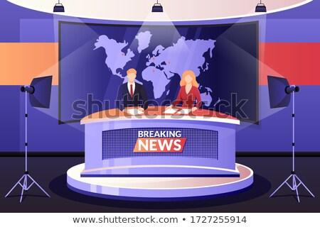 Anchormen on tv broadcast news. Breaking News vector illustration. Media on television concept. News Stock photo © makyzz