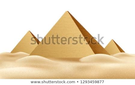 Egípcio pirâmide areia deserto céu claro céu Foto stock © Givaga