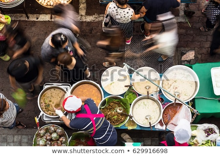 Food on Walking street Asian food market Stock photo © galitskaya