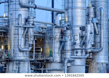 chemical destillation tower port of rotterdam stock photo © emiddelkoop