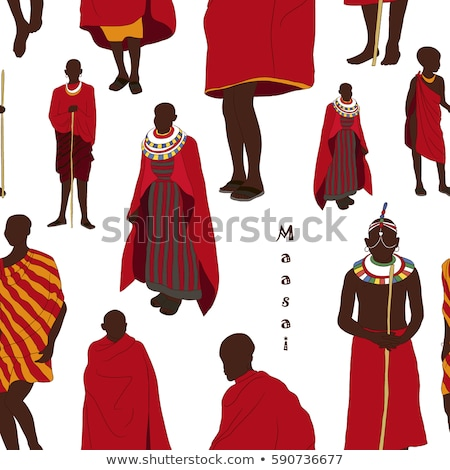 Maasai couple african people pattern Stock photo © netkov1