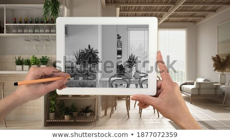 Tablet and tools with 3d home plan concept Stock photo © ra2studio