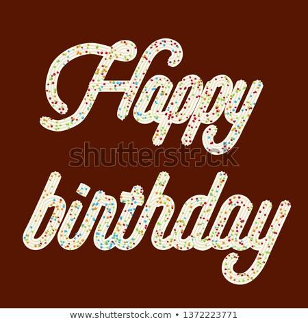 Tentant typographie cerise texte joyeux anniversaire chocolat Photo stock © balasoiu