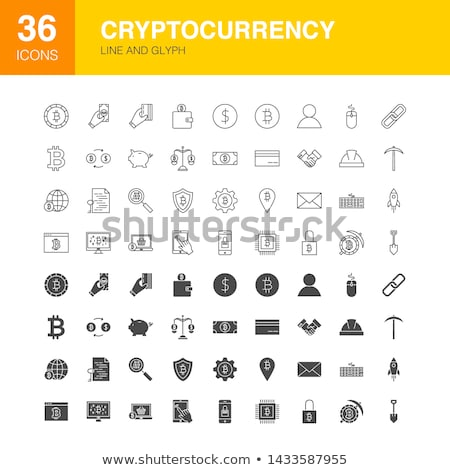 Cryptocurrency Line Web Glyph Icons Stock photo © Anna_leni