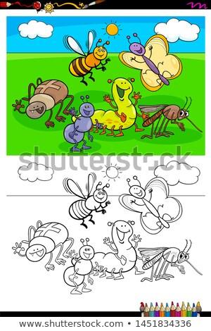 Rovarok állat betűk csoport szín könyv Stock fotó © izakowski