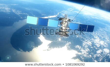 Modern meteorological satellite at the Earth orbit Stock photo © mechanik