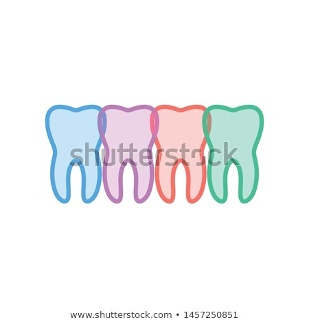a set of four teeth varying in color vector illustration isolated on white background stock photo © kyryloff