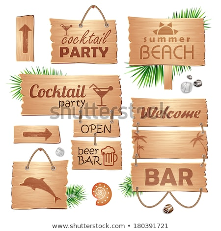 wooden board sun cocktail party palm stock photo © limbi007