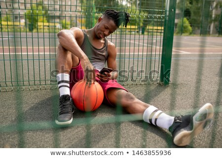 relajante · foto · futbolista · sesión · verde - foto stock © pressmaster