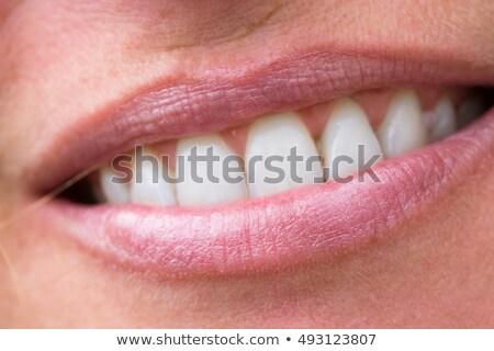 Macro feliz sorrir saudável dentes brancos brilhante Foto stock © serdechny