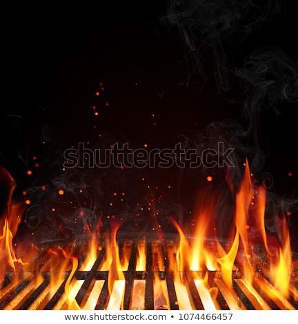 Carvão vegetal fogo grade ardente quente carvão Foto stock © albund